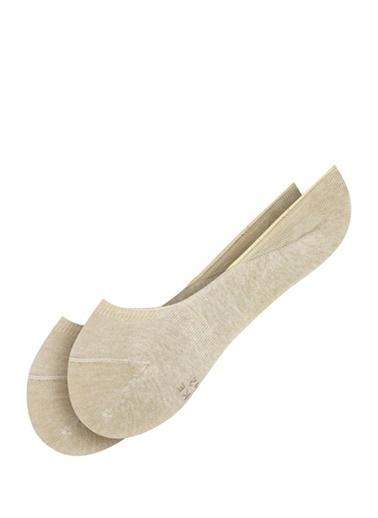 Falke Falke 101645150 Logo Baskılı Jakarlı Kaydırmaz Bantlı Pamuk Erkek Babet Çorap Bej